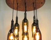 9 Light Wine Bottle & Barrel Top Chandelier Ceiling Fixture Repurposed Restaurant Bar Dining Room - shagmidcentury