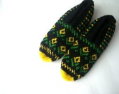 SALE knit slippers, yellow green black Hand Knitted Turkish Socks Slippers, crochet womens slippers, knitted home shoes, knit socks