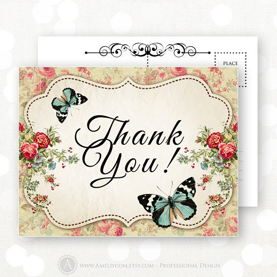 Vintage Baby Shower Thank You Cards: Printable Thank You Cards INSTANT DOWNLOAD Vintage Flowers