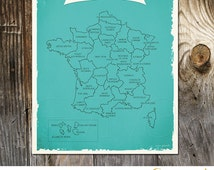 Taste of France - Culinary French Map of France in turquoise blue French cuisine France gastronomy map