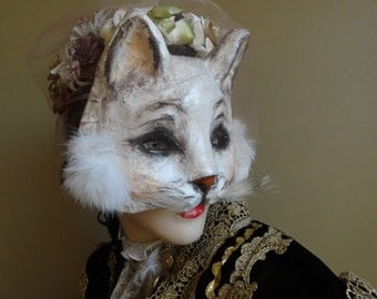 True Romance Paper mache White cat mask cat costume