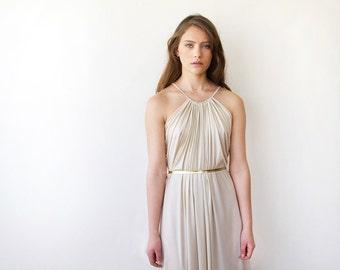 Pleated champagne Dress ,Halter Maxi Dress, Dress with Belt