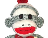 Brand New Green Classic Hatted Sock Monkey