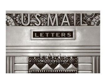 Art Deco Sign, U.S. Mail, Architecture Photo, Kansas City Power & Light, Black and White Photography, Vintage Metalwork, Deco Style