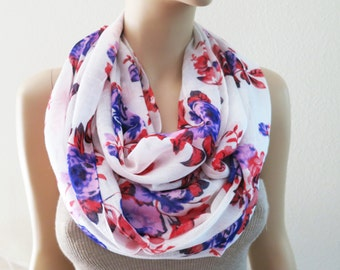 Floral Infinity Scarf Purple Red Flower White Scarves Fashion Women Gift Accessories