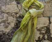 Felted Scarf. Lichen Green. Merino Wool. Silk. Luxury. Fringed.