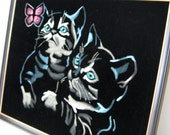 Kittens Chasing a Butterfly - Painted Black Velvet, Framed, Excellent Condition