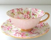 Antique Shelley Maytime Chintz Pattern Oleander Shape English Fine Bone China Rare Teacup and Saucer Tea Party