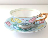 Vintage Handpainted Occupied Japan Teacup and Saucer Merit Pattern Cottage Style Tea Party Thank You or Housewarming Gift Inspiration