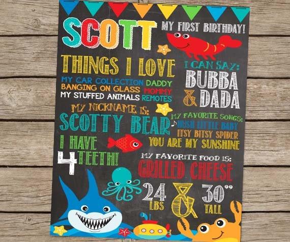 First Birthday Chalkboard Under The Sea Birthday By