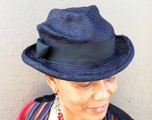 Fedora Straw Hat, Newly Hand Blocked -Vintage Look-Parasisal Straw- Grosgrain Ribbon Trim
