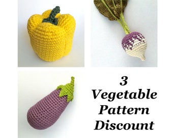 Crochet Vegetable Patterns Discount Bundle / Crochet Food Patterns / Aubergine Eggplant Pepper Turnip