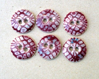 Pink And White Sewing Buttons, Lace Design Buttons,Cranberry Buttons