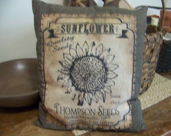 Primitive Black Homespun Sunflower Logo Rag Stuffed Pillow