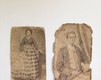Vintage Set Photographers Business Cards from 1800s in Sepia Color