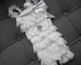 Petti Romper-Lace Romper-Baby Romper-White -Girls Romper-Lace Petti Romper-Ruffle Romper-Romper-Baby Outfit-Onesie, Baptism, Christening