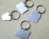 Handmade and Hand Stamped State Key-chains - Set of 4 personalized keychains - Custom Key rings - Men and Women