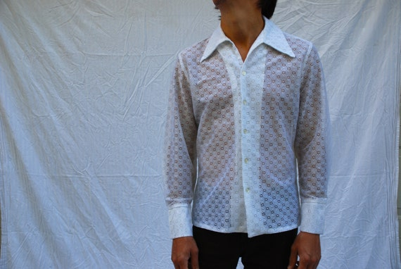 White eyelet flower see through mens long sleeve button up for Mens eyelet collar dress shirts
