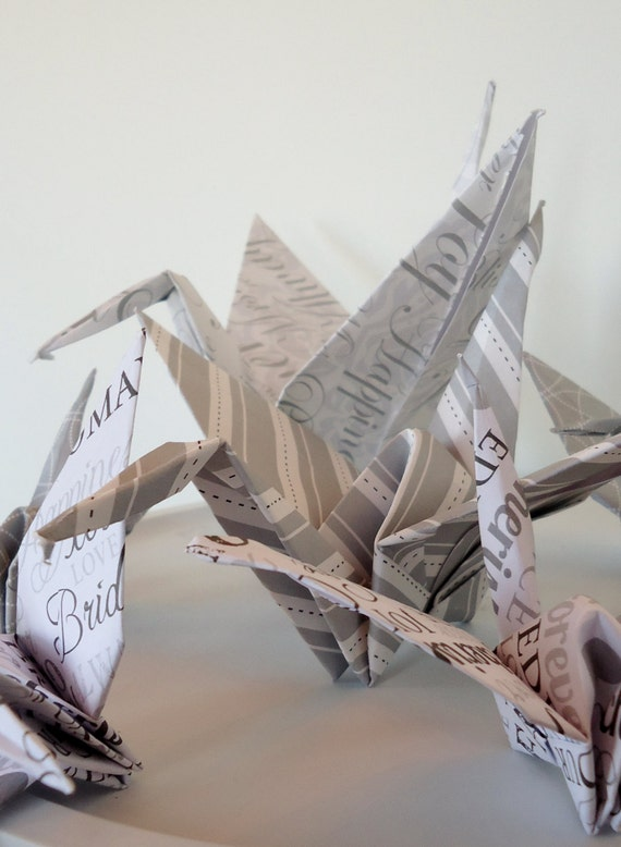 Wedding Origami Bird Decorations Silver Gray And By