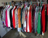 Lot of 30 vintage womens clothing tops shirts blouse skirts pants dresses