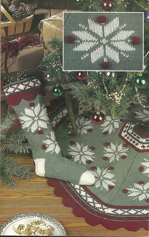 Knit Christmas tree skirt and stocking aran sweater pattern
