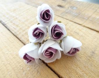 White Damson Purple Rose Wedding Hair Pins,  Bridal Hair Pins, Hair Accessories, Bridesmaid Hair, Woodland - Set of 6
