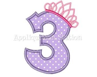 Number Three Tiara Crown 3rd Birthday Applique Machine Embroidery Design girl princess purple third INSTANT DOWNLOAD