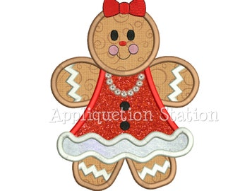 Gingerbread Girl Applique Machine Embroidery Design Christmas Holiday Winter INSTANT DOWNLOAD