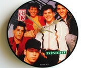 """NEW KIDS on the Block Picture Disc CLOCK """"Tonight"""" Vinyl Record Clock. Recycled Fun Gift for retro 1980s music lovers co worker best mate"""