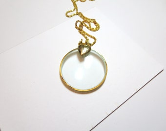 "Magnifying glass necklace -  Heart  Necklace -2"" Magnifying Jewelry, Fun and Handy. Trendy and Chic."