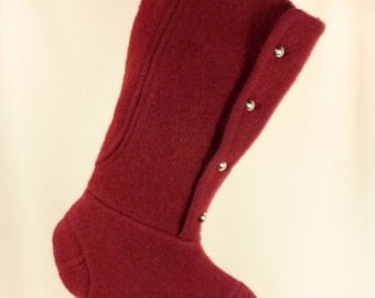 Christmas Stocking Felted Boiled Wool//Burgundy Red//Metal Buttons 490