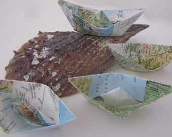 paper boat origami 10 boats  nautical theme table party birthday summer
