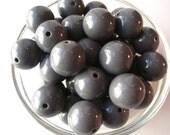 Gray Gumball Beads, 10 pcs, 20mm Slate Gray Bubblegum Beads, Chunky Necklace Bead, Acrylic Bead, Plastic Bead