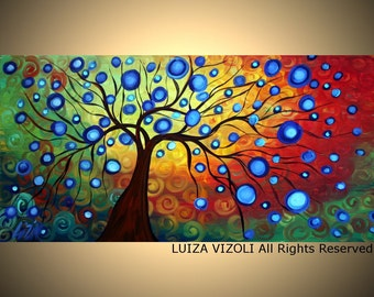Tree Landscape Abstract Fine Art by Luiza Vizoli BLUE RAIN - painting print on canvas or paper
