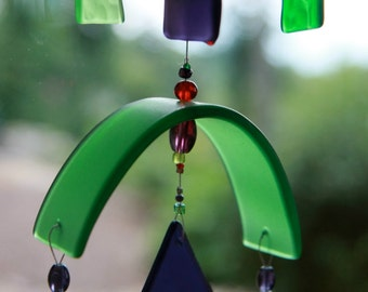 Glass Wind Chime, Recycled,Glass, Wine Bottle, WindChime, Wedding, Mobile, Beach Glass, Upcycled