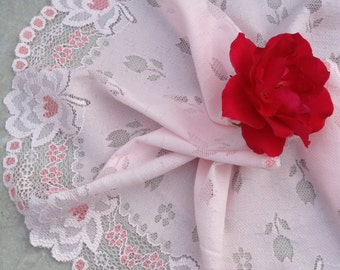 2.5 Yards  6 inch Light Pink  Embroidered  Hollowed Flowers With dark pink flower  Lace Trim LaceMode0172