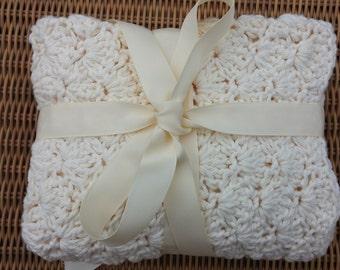 Ivory Crochet Cotton Baby/Stroller Blanket