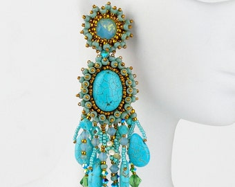 Turquoise bead embroidery earrings (E10005)