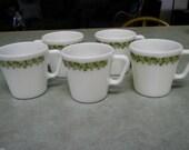 Vintage Pyrex Spring Blossom Crazy Daisy green 9 oz coffee mugs 1410 cups SET of 5