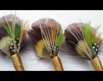 3 x Feather Boutonnière, (Buttonhole) - Wedding Boutonnieres, Groom, Buttonhole