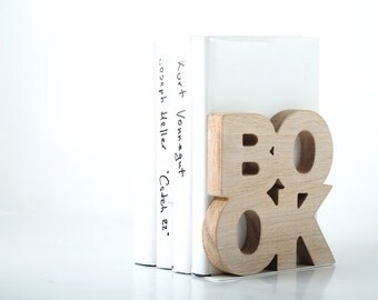 One bookend Book Wooden edition // housewarming gift for modern home // wooden book holder christmas gift book lover // FREE SHIPPING