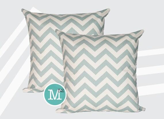 Village Blue Chevron Pillow Covers - Many Sizes Lumbar, 12, 14, 16 - Zipper Closure- dc246l