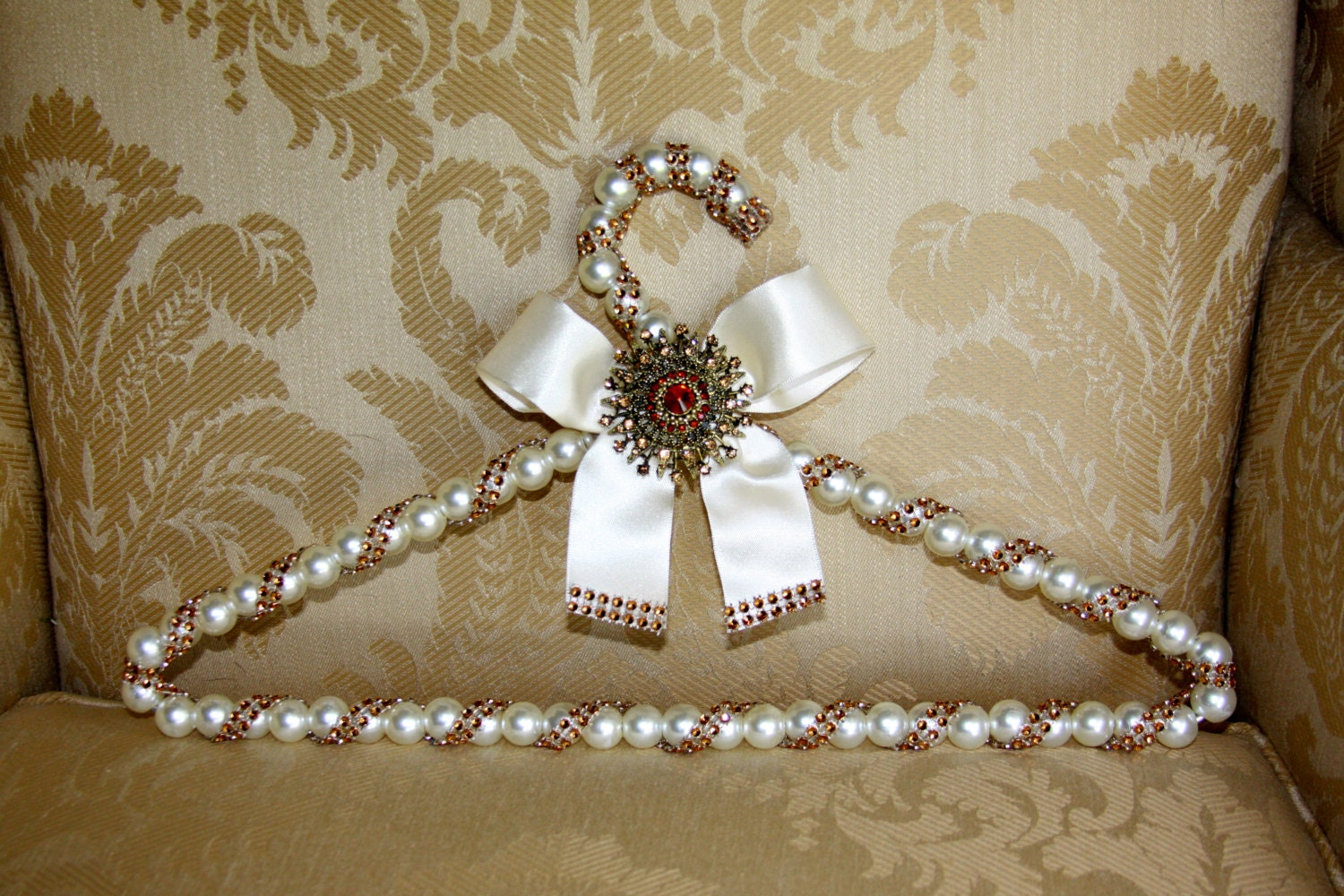 SALE Bridal Hanger With Brooch Wedding Dress Hanger With Pearl