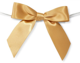 """Gold 3"""" Pre-Tied Satin Bows with 5"""" Twist Ties~ 7/8"""" ribbon- Pack of 6"""