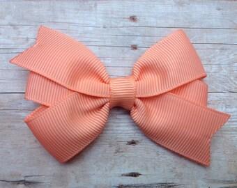 Peach hair bow - light orange bow, peach hair bow, 3 inch peach bow, pinwheel bows, girls hair bows, toddler bows, baby bows, girls bows