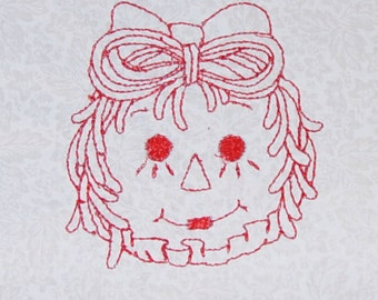 10 Embroidered Raggedy Ann Quilt Blocks
