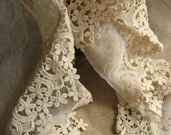 off white lace trim in beige, vintage scalloped lace trim, cotton embroidery gauze lace trim