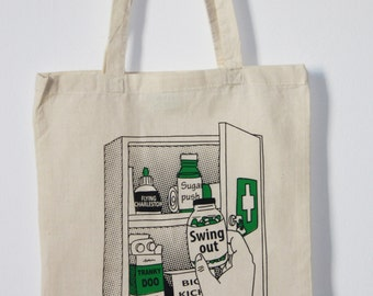 Ecru Cotton Handprinted Tote Bag: Swing pills. Lindy hop.