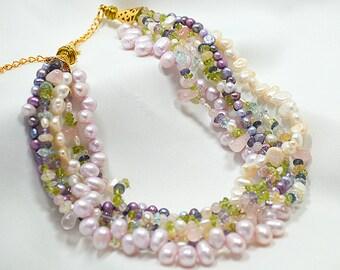 Pastel pearl choker necklace Pink lavender multi gemstone choker Chunky multi layer necklace Multistrand torsade necklace Office jewelry