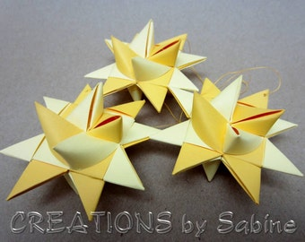 Paper Star Ornaments, Set of 3, 3-D Yellow, Moravian Froebel German Folded Star Gift Idea Christmas Party Decor Kids Room Shower Gift (56)